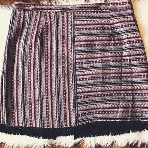 Ing Multi-Color Fringe Hem Skirt - Plus Size 1X